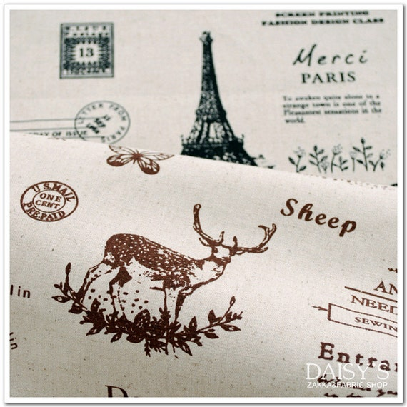 Cotton Linen Fabric Cloth -DIY Cloth Art Manual Cloth- Paris And Natural 55x19Inches
