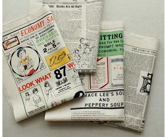 Cotton Linen Fabric Cloth -DIY Cloth Art Manual Cloth- Newspaper In English   57x24Inches