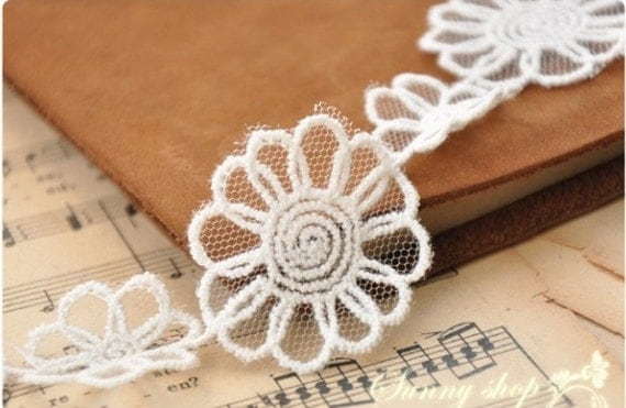 Lace Fabric Trim 2Yard  White Embroidery Lace Gauze 4cm wide