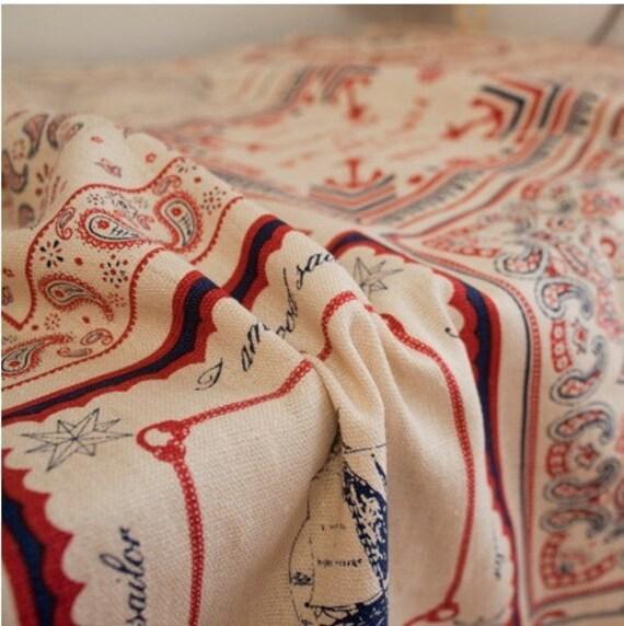 Cotton Linen Fabric Cloth -DIY Cloth Art Manual Cloth -Red Blue Sea Wind Map Anchor  55x22 Inches