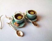 Afternoon Tea Earrings Sterling Silver Baby Blue Cookie Miniature Food Jewelry Dangle