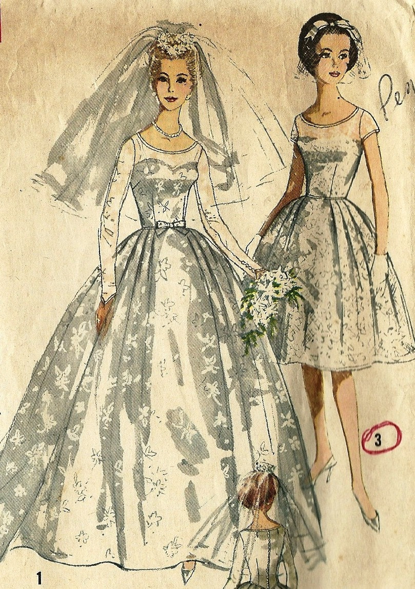 Vintage wedding dress pattern simplicity white wedding for Wedding dress patterns vintage
