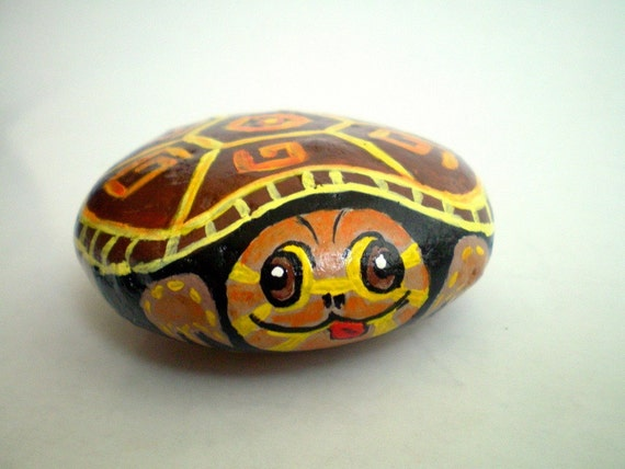 Turtle painted rock paper weight  - donated by ShebboDesign