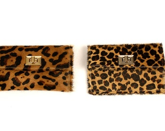 Turn Lock Clutch in Leopard Printed Hair