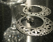 """Round Filigree Earrings In Oxidized Silver And Crystals """"Gypsy Dance"""""""