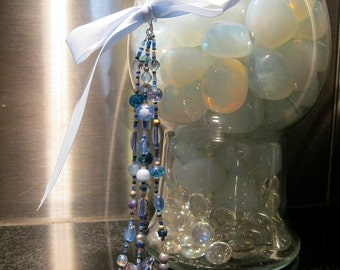 Fan Pull Home Decor, Christmas Ornament, Blue And White, Multistrands