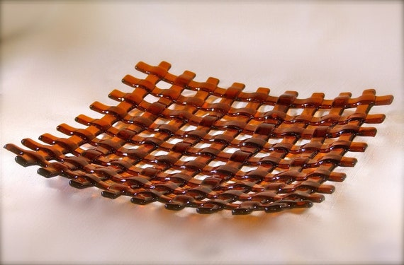 Amber Basket Weave Decorative Plate