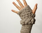 CROCHET PATTERN instand download - Dusty Morning Gloves - fingerless brown bubbled hand warmers tutorial PDF
