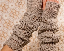 CROCHET PATTERN instant download - Sand Light Gloves - long lace dusty beige hand warmers fashionable feminine gorgeous pretty tutorial PDF
