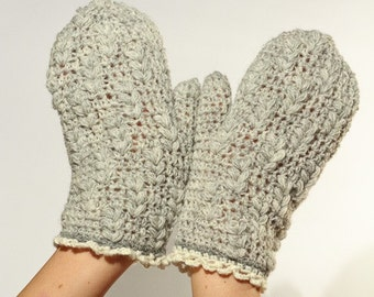 CROCHET PATTERN instant download - Raise Snowflakes Gloves - warm grey gray wool mittens