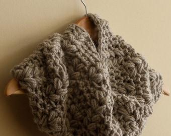 CROCHET PATTERN instant download - Viking Eternity Cowl - large chocolate brown beige infinity neck warmer grain tutorial PDF