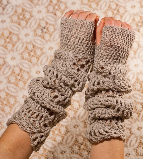 CROCHET PATTERN instant download - Sand Light Gloves - long lace dusty beige hand warmers fashionable feminine gorgeous pretty tutorial PDF