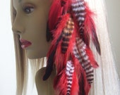 Red and Black Multi Grizzly Clip In Feather Hair Extension