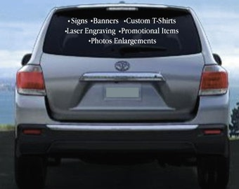 Vinyl Window Lettering for Vehicles One Line up to 36""