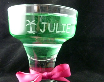Two Margarita Glasses Customized and Personalized