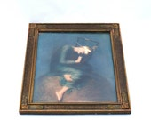 Hope by Watts Antique Framed Print Woman with Lyre Art Nouveau