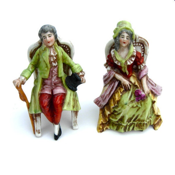 Antique Figurine Pair Porcelain Collectible Germany Seated Couple