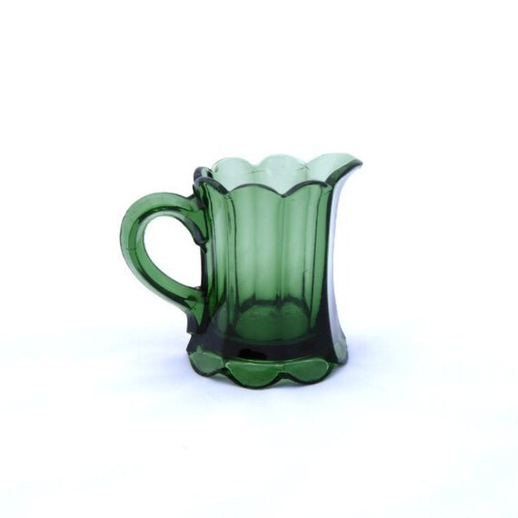 Vintage Pitcher Creamer Glass Emerald Green Vase Decor