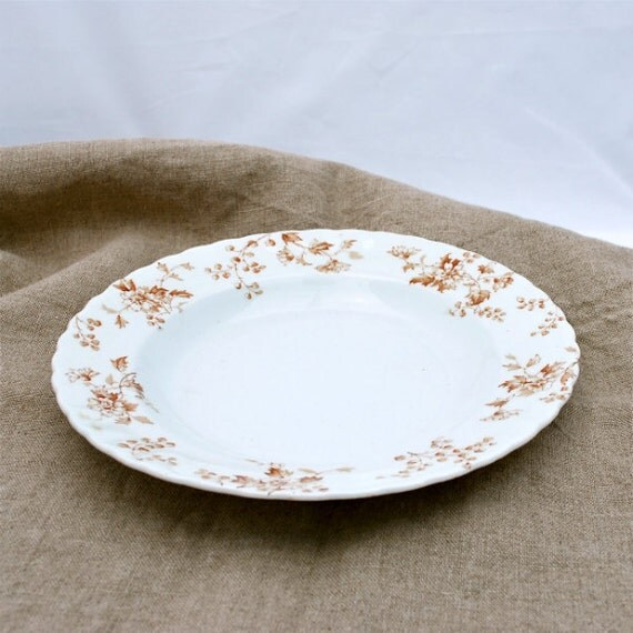 Antique Soup Plate Bowl Brown Transferware Teutonic Mellor Taylor England