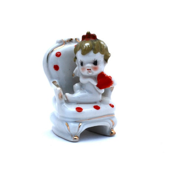 Vintage Figurine Porcelain Cupid with Heart on Chair Japan