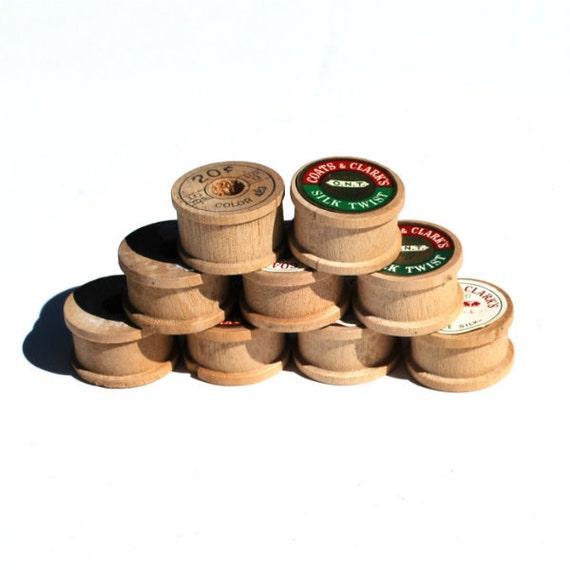 Vintage Wood Thread Spools Nine Short