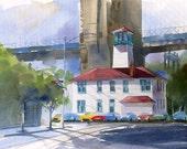 FULTON STREET LIGHT---- Watercolor By Ray Lockhart