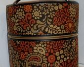 RARE ---Antique --Vintage Estate PAISLEY Tapestry --- Handled Hat Box ---- Luggage---XLARGE