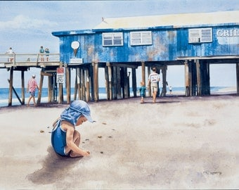 The GRILL-Watercolor Painting By RAY LOCKHART