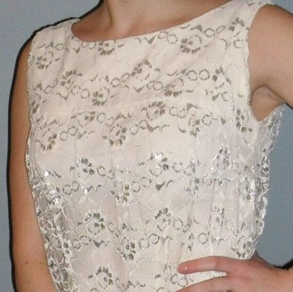 Superb---Lacy Cream and Silver 1960's Short Sheath Wedding dress
