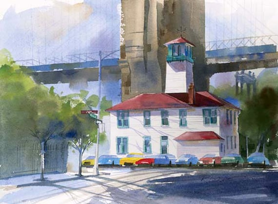 FULTON STREET LIGHT---- Watercolor By Ray Lockhart