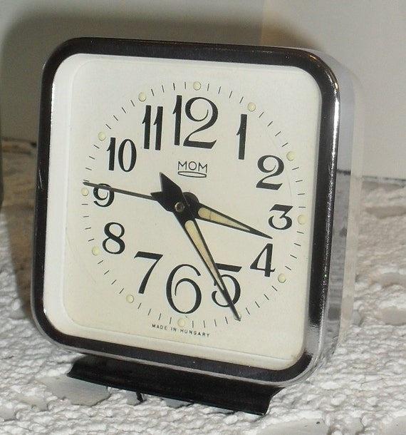 Awesome Vintage --MOM Portable Wind-up Alarm Clock --- Hungarian---Chrome ---Mid Century