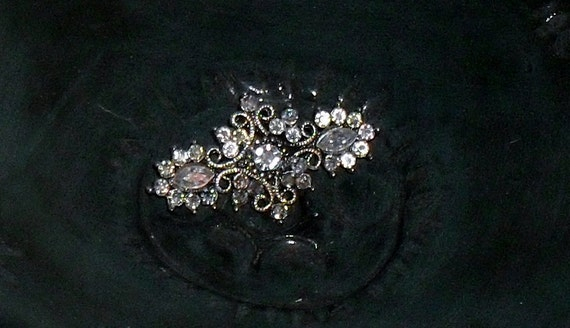 Aurora Borealis -Sweet and Sparkly ----Antique Brooch ---Filigree and RHINESTONES