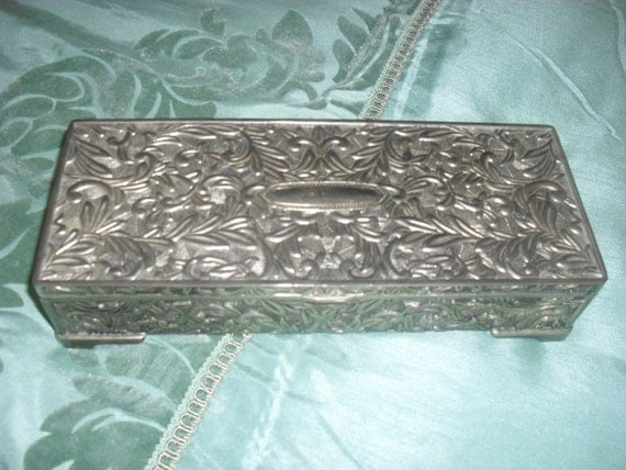 My FAVORITE SilverPlated Jewelry Box ---Grey VELVET Lining-----SCROLLED