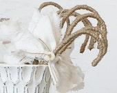 Burlap Candy Cane - Rustic Vintage Christmas Decor and Ornament