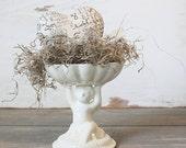 White Cherub Pedestal Bowl