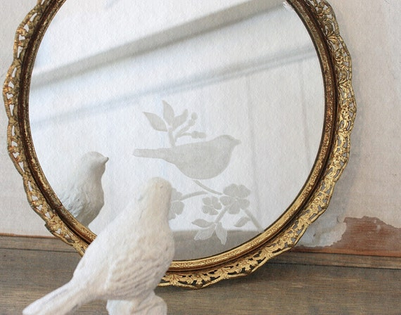 Reserved For Hetao55 Bird And Floral Etched Round Vintage