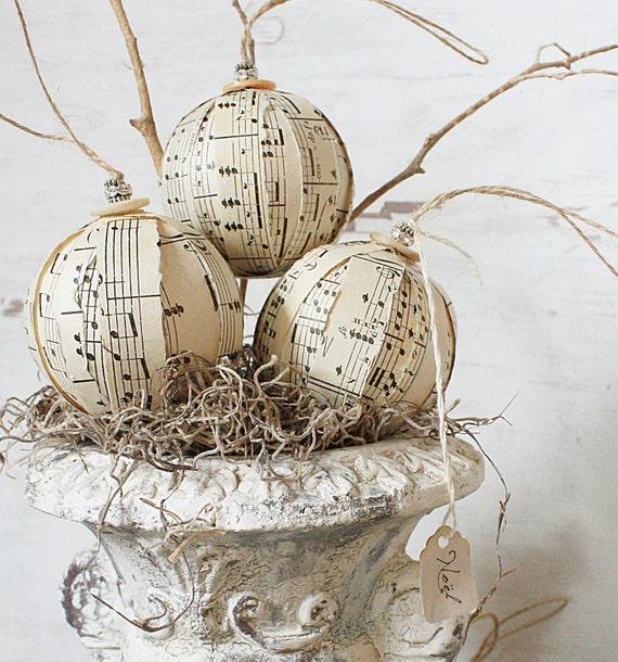 Rustic Rag Ball Ornaments - Vintage Sheet Music Ornies - Set of Six