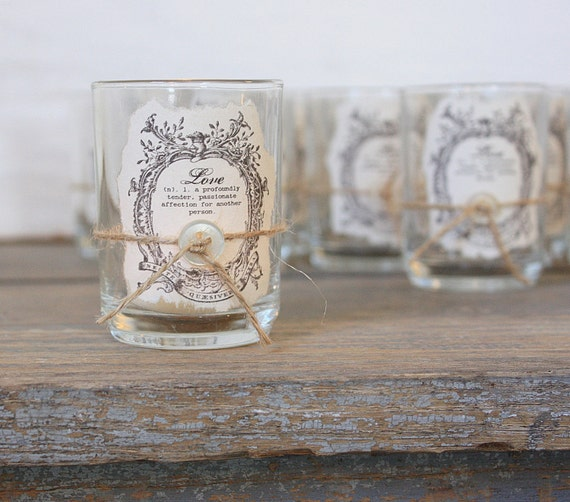 Rustic Candle Favors Rustic Elegance Collection by ClothandPatina