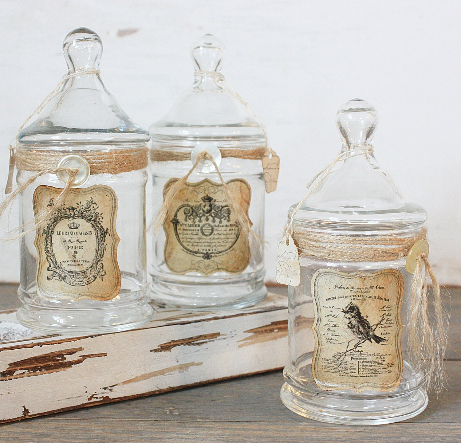 Repurposed Vintage Apothecary Jar Rustic French Bird