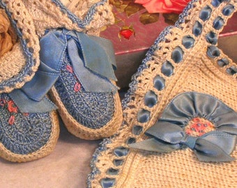 Vintage-Baby Bib and Booties, Crocheted, Hand made, OOAK, Blue and Cream