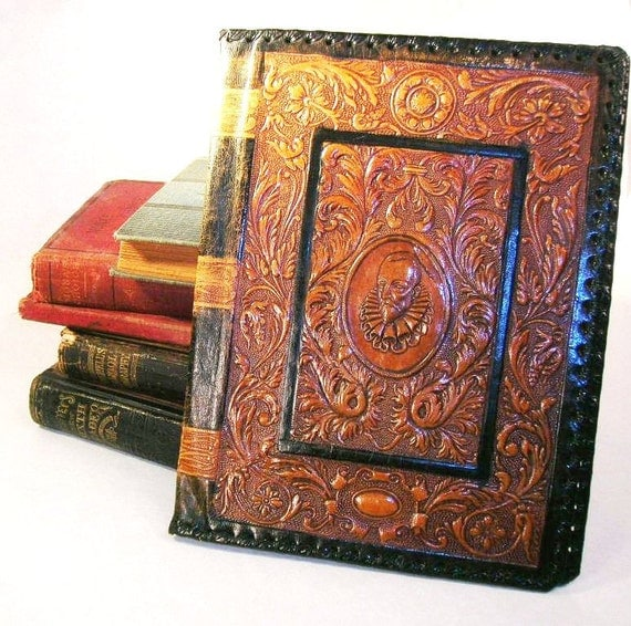 Black Leather Book Cover : Vintage hand tooled leather book cover shakespeare satin
