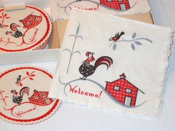 Paper Ephemera, Napkin and Coaster set, Rooster, WELCOME, Hostess set, circa 1950s,