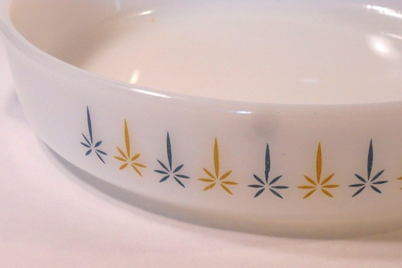Fire King, Casserole Dish, Pie Plate, Candle Glow, 9in.