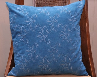 """Pillow - 16"""" Turquoise Embrodiery Suede Cloth Sham (2 pc. Set)"""