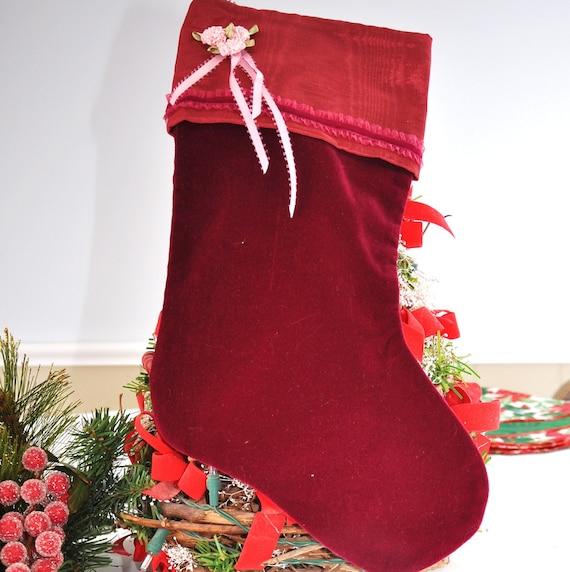 Christmas Stocking - Roses and Red Velvet