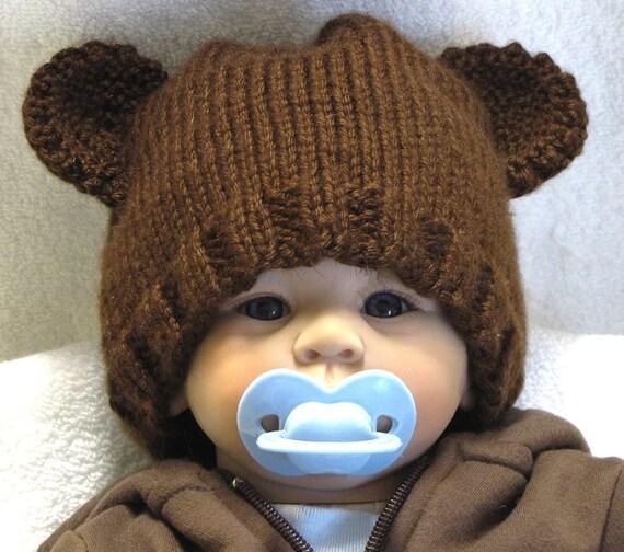 Knitting Pattern For Teddy Bear Hat : Teddy Bear Baby Hat Newborn Hand Knitted in a by ezcareknits