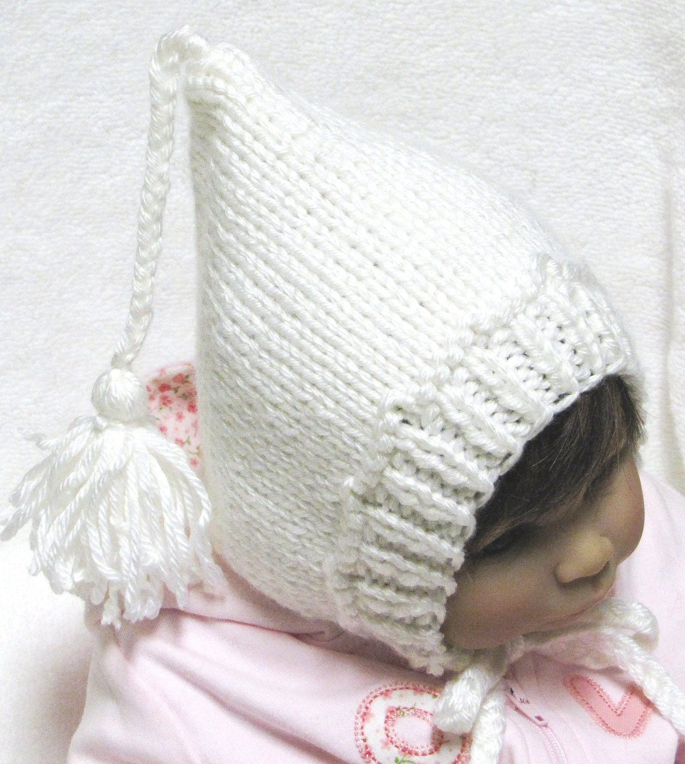 Crochet Tassel Hat Pattern For Baby : Pixie Baby Hat Knitting Pattern with Tassel in 3 Sizes PDF