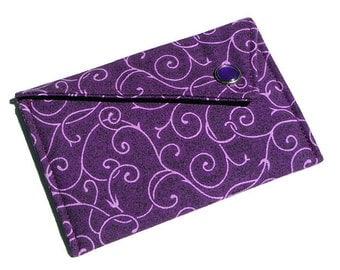 Card Holder - Purple Scrolling Vines