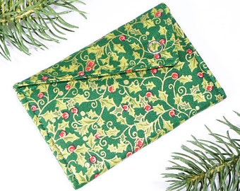 Gift Card Holder - Christmas Holly Leaves and Berries