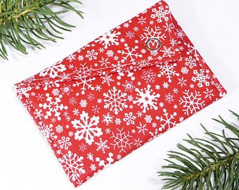 Gift Card Holder - Red White Falling Snowflakes